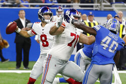 New York Giants quarterback Daniel Jones (8) throws during the first half of an NFL football game against the New York Giants, Sunday, Oct. 27, 2019, in Detroit. (AP Photo/Carlos Osorio)