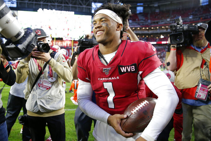 Arizona Cardinals quarterback Kyler Murray (1) leaves the field after an NFL football game against the Cleveland Browns, Sunday, Dec. 15, 2019, in Glendale, Ariz. The Cardinals won 38-24. (AP Photo/Rick Scuteri)