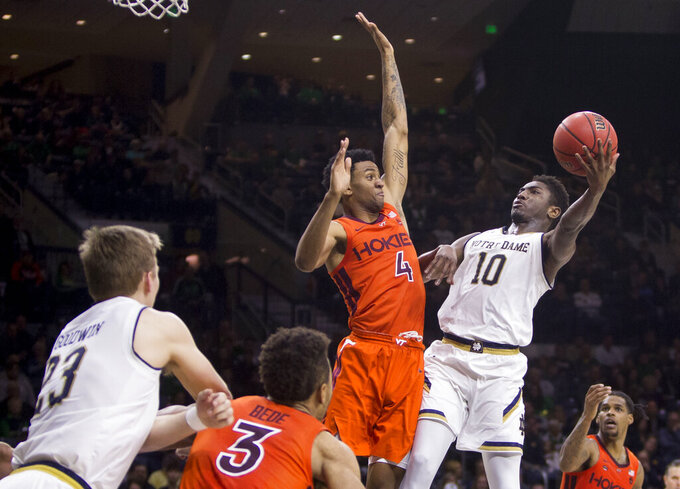 Blackshear powers No. 20 Virginia Tech past Notre Dame 67-59