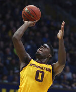 Arizona State guard Luguentz Dort shoots during the first half of the team's NCAA college basketball game against California on Wednesday, Jan. 9, 2019, in Berkeley, Calif. (AP Photo/Ben Margot)