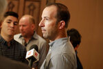 Los Angeles Angels general manager Billy Eppler speaks at a media availability during the Major League Baseball general managers annual meetings, Wednesday, Nov. 13, 2019, in Scottsdale, Ariz. (AP Photo/Matt York)