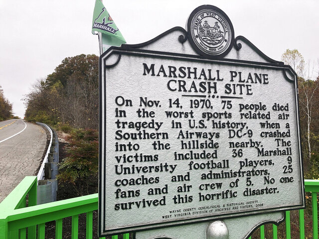A memorial plaque is displayed at the site of a 1970 plane crash that killed 75 people, including 36 Marshall football players Oct. 24, 2020, near Huntington, W.Va. The Nov. 14, 1970 crash remains the worst sports disaster in U.S. history. (AP Photo/John Raby)