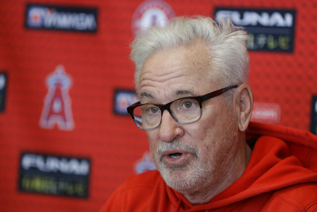 Los Angeles Angels manager Joe Maddon speaks during a news conference at the spring training baseball facility, Tuesday, Feb. 11, 2020, in Tempe, Ariz. (AP Photo/Darron Cummings)