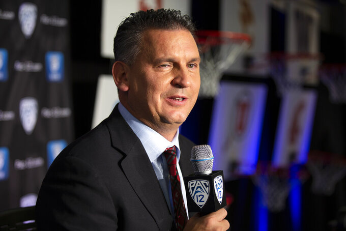 FILE - In this Oct. 8, 2019, file photo, Washington State head coach Kyle Smith speaks during the Pac-12 NCAA college basketball media day, in San Francisco, Tuesday. (AP Photo/D. Ross Cameron, File)