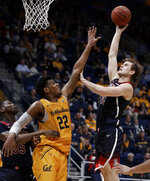 Arizona's Stone Gettings, right, shoots as California's Andre Kelly (22) during the second half of an NCAA college basketball game Thursday, Feb. 13, 2020, in Berkeley, Calif. (AP Photo/Ben Margot)