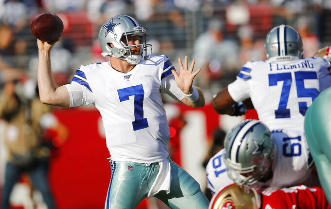 Dallas Cowboys quarterback Cooper Rush (7) throws a pass against the San Francisco 49ers during the first half of an NFL preseason football game in Santa Clara, Calif., Saturday, Aug. 10, 2019. (AP Photo/John Hefti)