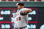 Detroit Tigers pitcher Wily Peralta throws against the Minnesota Twins in the first inning of a baseball game, Wednesday, July 28, 2021, in Minneapolis. (AP Photo/Jim Mone)
