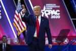 FILE - In this Feb. 29, 2020 file photo, President Donald Trump greets the crowd after speaking at Conservative Political Action Conference, CPAC 2020, at the National Harbor, in Oxon Hill, Md., Saturday, Feb. 29, 2020. (AP Photo/Jose Luis Magana)