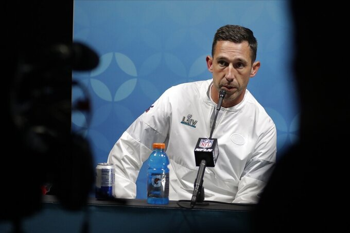 San Francisco 49ers head coach Kyle Shanahan speaks during a news conference after the NFL Super Bowl 54 football game against the Kansas City Chiefs Sunday, Feb. 2, 2020, in Miami Gardens, Fla. (AP Photo/John Bazemore)