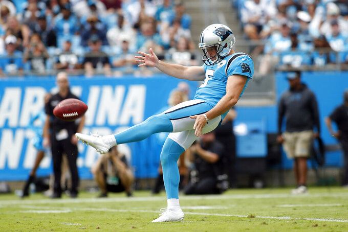 FILE - Carolina Panthers punter Michael Palardy (5) kicks against the Jacksonville Jaguars during the first half of an NFL football game in Charlotte, N.C., in this Sunday, Oct. 6, 2019, file photo. The Carolina Panthers are releasing veteran safety Tre Boston, defensive end Stephen Weatherly and punter Michael Palardy in a salary-cap, cost-cutting move, a person familiar with the situation told The Associated Press. The person spoke on condition of anonymity Friday, Feb. 19, 2021, because the moves have not been announced. (AP Photo/Brian Blanco, File)