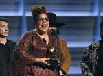 FILE - This Feb. 15, 2016 file photo shows Brittany Howard of The Alabama Shakes accepting the award for best rock performance for