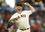 San Francisco Giants pitcher Will Smith works against the Philadelphia Phillies in the ninth inning of a baseball game Sunday, Aug. 11, 2019, in San Francisco. (AP Photo/Ben Margot)