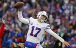 Buffalo Bills quarterback Josh Allen celebrates after a 1-yard touchdown during the first half of an NFL football game against the Washington Redskins, Sunday, Nov. 3, 2019, in Orchard Park, N.Y. (AP Photo/John Munson)