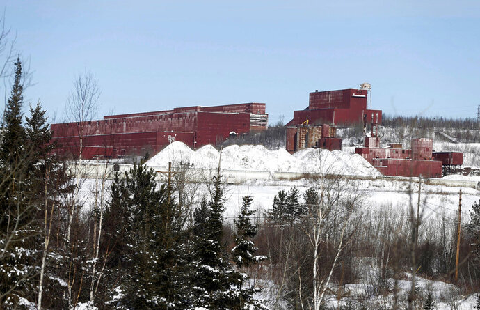 FILE - In this Feb. 10, 2016, file photo, the closed LTV Steel taconite plant is abandoned near Hoyt Lakes, Minn. The Army Corps of Engineers has awarded the planned PolyMet copper-nickel mine in northeastern Minnesota the final permit it needs to proceed. The permit deals with how PolyMet will mitigate its effects on wetlands. PolyMet calls it a