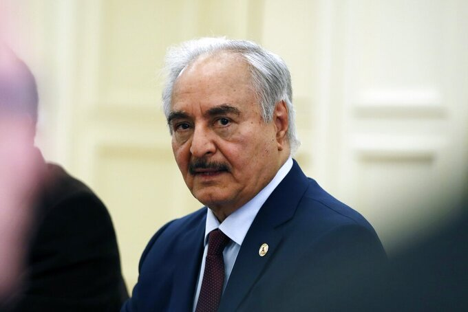 FILE - In this Jan. 17, 2020 file photo, Libyan Gen. Khalifa Hifter joins a meeting with the Greek Foreign Minister Nikos Dendias in Athens. Richard Norland, the U.S. ambassador to Libya met Wednesday, Aug. 11, 2021, in the Egyptian capital Cairo, with Hifter, the commander of the self-styled Libyan Arab Armed Forces, amid international efforts to salvage a U.N.-brokered roadmap for elections in the North African country late this year. (AP Photo/Thanassis Stavrakis, File)