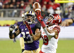 Utah wide receiver Bryan Thompson (19) cannot catch a pass in front of Washington defensive back Jordan Miller (23) during the second half of the Pac-12 Conference championship NCAA college football game in Santa Clara, Calif., Friday, Nov. 30, 2018. (AP Photo/Tony Avelar)