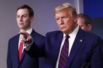 President Donald Trump points to a reporter to ask a question as he speaks about the coronavirus in the James Brady Press Briefing Room of the White House, Thursday, April 2, 2020, in Washington, as White House adviser Jared Kushner listens. (AP Photo/Alex Brandon)