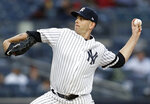 New York Yankees starting pitcher James Paxton delivers during the first inning of the team's baseball game against the Boston Red Sox, Tuesday, April 16, 2019, in New York. (AP Photo/Kathy Willens)