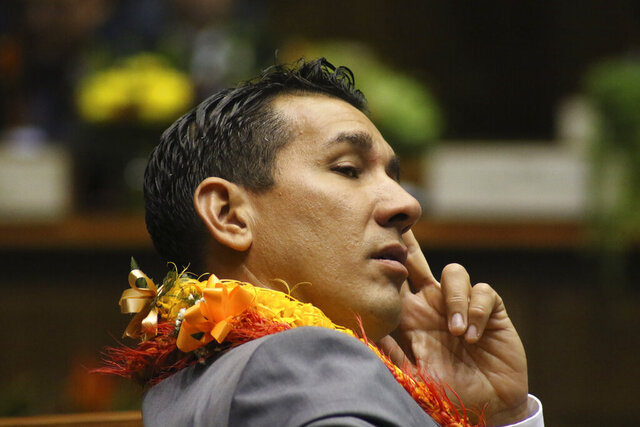 FILE -- In this Jan. 15, 2020 file photo, is state Sen. Kai Kahele at the opening day of the Hawaii Sate Legislature in Honolulu. Kahele is favored to win the Democratic Party's nomination to represent Hawaii's 2nd Congressional District in the primary election. The seat is currently held by U.S. Rep. Tulsi Gabbard, a Democrat who decided not to run for reelection so she could focus on her presidential campaign, which was ultimately unsuccessful.   (AP Photo/Audrey McAvoy, File)