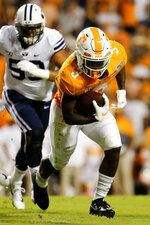 Tennessee running back Eric Gray (3) carries the ball against BYU during a NCAA football game at Neyland Stadium on Saturday, Sept. 7, 2019 in Knoxville, Tenn.(C.B. Schmelter/Chattanooga Times Free Press via AP)