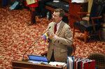 Iowa Senator Joe Bolkcom, D-Iowa City, speaks out against SJR 2001, the controversial abortion ban bill, during senate debate in the Senate Chambers at the Iowa Capitol Building, Thursday, Feb. 13, 2020 in Des Moines, Iowa. (Bryon Houlgrave/The Des Moines Register via AP)