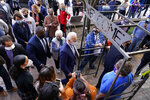Democratic presidential candidate former Vice President Joe Biden arrives at the Amazing Grace Bakery & Cafe in Duluth, Minn., Friday, Sept. 18, 2020. (AP Photo/Carolyn Kaster)