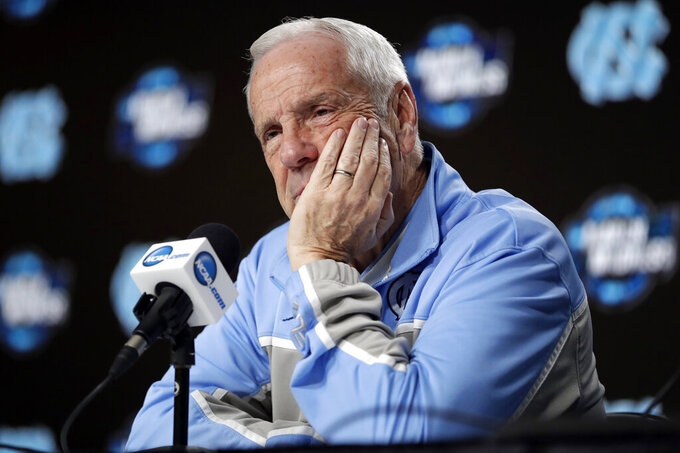 North Carolina head coach Roy Williams listens to a question during a news conference at the NCAA men's college basketball tournament Thursday, March 28, 2019, in Kansas City, Mo. North Carolina plays Auburn in a Midwest Regional semifinal on Friday. (AP Photo/Jeff Roberson)
