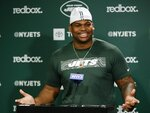 New York Jets' Quinnen Williams speaks during an NFL football news conference Friday, May 10, 2019, in Florham Park, N.J. (AP Photo/Frank Franklin II)
