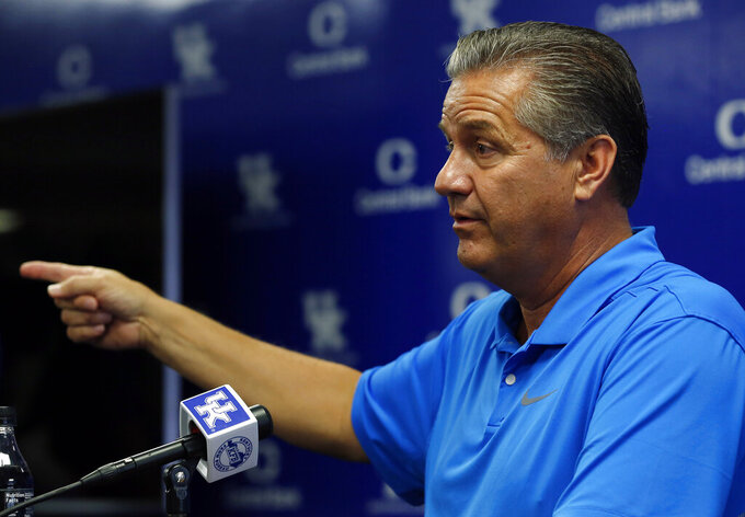 Kentucky head coach John Calipari answers a question during the university's NCAA college basketball media day, Tuesday, Oct. 1, 2019, in Lexington, Ky. (AP Photo/James Crisp)