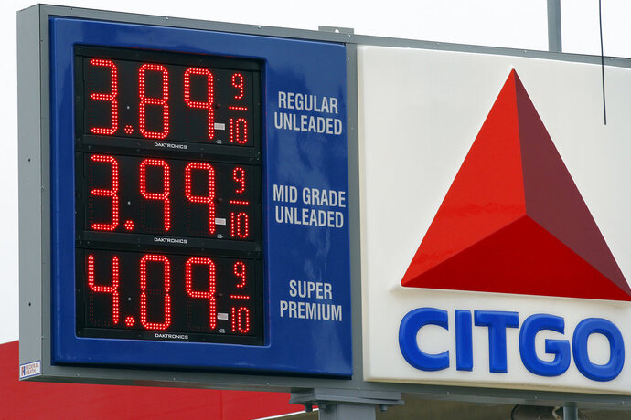 FILE - In this Feb. 24, 2012 file photo, gas prices are posted at the Citgo gas station in Philadelphia. A Canadian gold mining company on Thursday, Aug. 9, 2018 won the right to go after Venezuela's prized U.S.-based oil refineries and collect $1.4 billion it lost in a decade-old take-over by the late socialist President Hugo Chavez. (AP Photo/Alex Brandon, File)