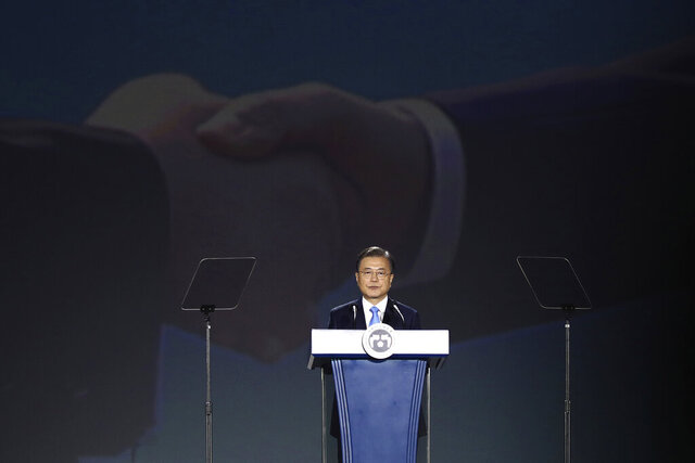South Korean President Moon Jae-in speaks during the celebration of 75th anniversary of the Liberation Day at Dongdaemun Design Plaza in Seoul Saturday, Aug. 15, 2020. South Korea marked its 75th National Liberation Day on Saturday, which celebrates its independence from Japanese colonial rule following the end of World War II after Japan surrendered. (Chung Sung-jun/Pool Photo via AP)