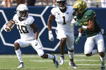 Georgia Tech wide receiver Ahmarean Brown (10) runs past South Florida defensive back Bentlee Sanders (20) during the second half of an NCAA college football game Saturday, Sept. 7, 2019, in Atlanta. Georgia Tech won 14-10. (AP Photo/Jon Barash)