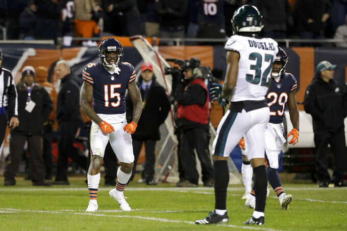 Chicago Bears wide receiver Josh Bellamy (15) celebrates after making a reception during the second half of an NFL wild-card playoff football game against the Philadelphia Eagles Sunday, Jan. 6, 2019, in Chicago. (AP Photo/Nam Y. Huh)