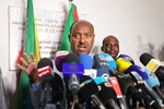 Special envoy of the Ethiopian Prime Minister Ambassador Mahmoud Dreir speaks to the press at the Ethiopian embassy, Khartoum, Sudan Tuesday, June 11, 2019 on the agreement to end the civil disobedience of the country between the forces of freedom and change and the military council. (AP Photo)