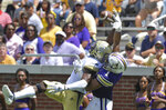 Georgia Tech wide receiver Jalen Camp (80) makes a one-hand catch but it was ruled incomplete in the first half of an NCAA college football game against Alcorn State  Saturday, Sept. 1, 2018, in Atlanta. (Hyosub Shin/Atlanta Journal-Constitution via AP)