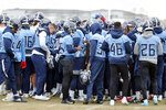 Tennessee Titans players gather during an NFL football practice Friday, Jan. 17, 2020, in Nashville, Tenn. The Titans are scheduled to face the Kansas City Chiefs in the AFC Championship game Sunday. (AP Photo/Mark Humphrey)