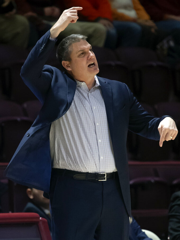 Boston College head coach Jim Christian yells to his players during the second half of an NCAA college basketball game against Virginia Tech, Saturday, Jan. 5, 2019, in Blacksburg, Va.  (AP Photo/Don Petersen)