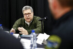 Attorney General William Barr speaks at a law enforcement roundtable at the Flathead County Sheriff's Posse in Evergreen, Mont., Friday, Nov. 22, 2019. (AP Photo/Patrick Semansky)