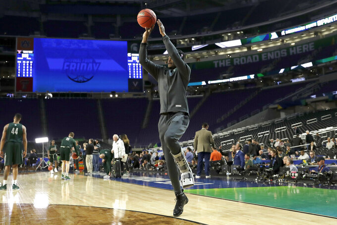 Michigan State's Joshua Langford shoots during a practice session for the semifinals of the Final Four NCAA college basketball tournament, Friday, April 5, 2019, in Minneapolis. (AP Photo/David J. Phillip)