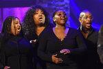 The Fisk Jubilee Singers perform at the Americana Honors & Awards show Wednesday, Sept. 22, 2021, in Nashville, Tenn. (AP Photo/Mark Zaleski)