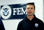 Acting Homeland Security Secretary Kevin McAleenan speaks during a briefing about a storm system, in a visit to the National Response Coordination Center at FEMA headquarters in Washington, Sunday, July 14, 2019. (AP Photo/Jose Luis Magana)