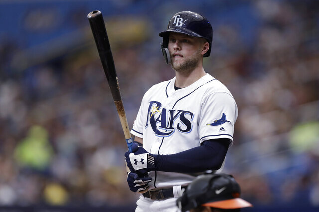 FILE - In this Sept. 2, 2019, file photo, Tampa Bay Rays' Austin Meadows bats against the Baltimore Orioles during the first inning of a baseball game in St. Petersburg, Fla. Meadows has been placed on the injured list after testing positive for the coronavirus. The Rays announced the move Thursday night, July 16. (AP Photo/Chris O'Meara, File)