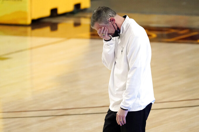 Arizona State coach Bobby Hurley reacts after a play against California during the second half of an NCAA college basketball game Thursday, Jan. 28, 2021, in Tempe, Ariz. Arizona State won 72-68. (AP Photo/Rick Scuteri)