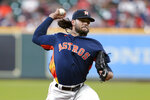 Houston Astros starting pitcher Lance McCullers Jr. throws against the Los Angeles Angels during the first inning of a baseball game Sunday, Sept. 12, 2021, in Houston. (AP Photo/Michael Wyke)