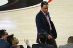 Georgia coach Tom Crean walks in front of the bench during the team's NCAA college basketball game against Western Carolina on Tuesday, Nov. 5, 2019, in Athens, Ga. (Joshua L. Jones/Athens Banner-Herald via AP)