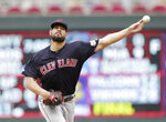 Cleveland Indians Brad Hand throws to the Minnesota Twins in the ninth inning during a baseball game Sunday, Sept. 8, 2019, in Minneapolis. (AP Photo/Andy Clayton-King)