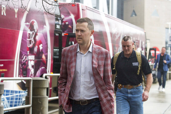 Oklahoma Sooners head coach Lincoln Riley arrived at the Omni Hotel with the team in Atlanta, Monday, Dec. 23, 2019. The Oklahoma Sooners will face the LSU Tigers in the Chick-fil-A Peach Bowl at Mercedes-Benz Stadium Saturday, December 28. (Alyssa Pointer/Atlanta Journal-Constitution via AP)