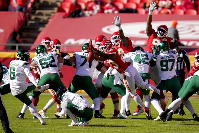 New York Jets place kicker Sergio Castillo (6) has his field goal attempt blocked by Kansas City Chiefs safety Armani Watts (23) in the first half of an NFL football game on Sunday, Nov. 1, 2020, in Kansas City, Mo. (AP Photo/Jeff Roberson)
