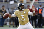 NFC quarterback Russell Wilson, of the Seattle Seahawks, (3) looks to pass, during the first half of the NFL Pro Bowl football game against the AFC, Sunday, Jan. 26, 2020, in Orlando, Fla. (AP Photo/Chris O'Meara)