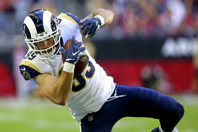 Los Angeles Rams tight end Tyler Higbee (89) makes a catch against the Arizona Cardinals during the first half of an NFL football game, Sunday, Dec. 1, 2019, in Glendale, Ariz. (AP Photo/Ross D. Franklin)